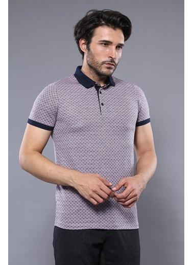 Wessi Erkek Slim Fit Polo Yaka Desenli Pamuk Tişört Pembe